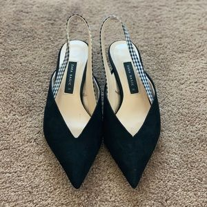 Zara Black Pointed Kitten Heels - 9